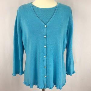 Karen Scott Blue Sweater Twinset